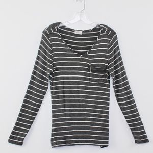 💘Glitz Zipper Pocket V-Neck Tee Grey White Stripe